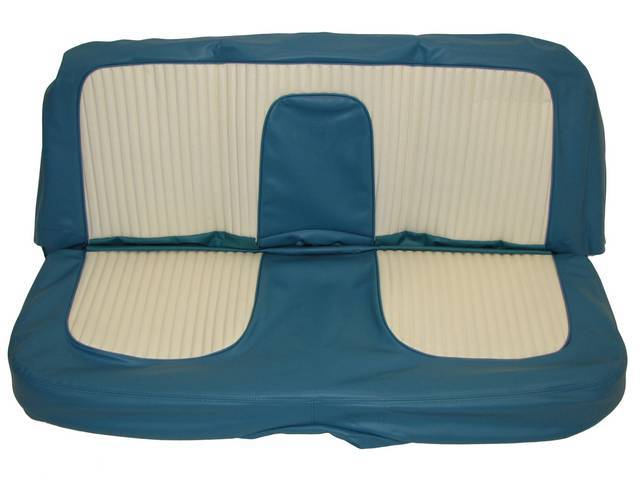 SEAT UPHOLSTERY, PEACOCK AND WHITE WITH BACK REST EMBOSSMENT