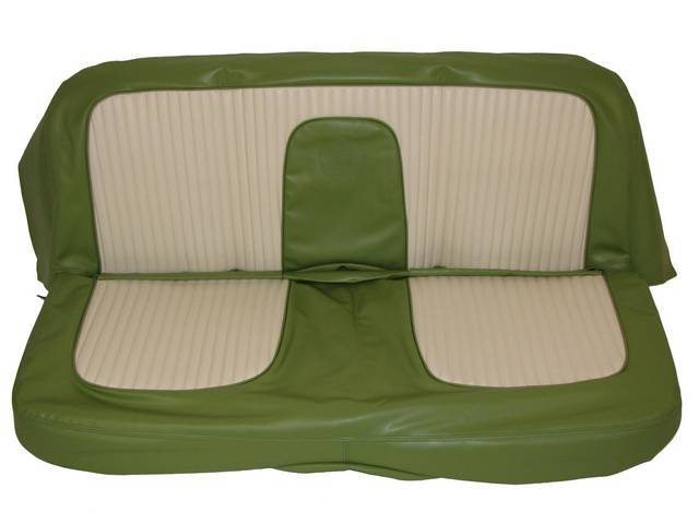SEAT UPHOLSTERY, SAGE GREEN AND WHITE WITH BACK REST EMBOSSMENT