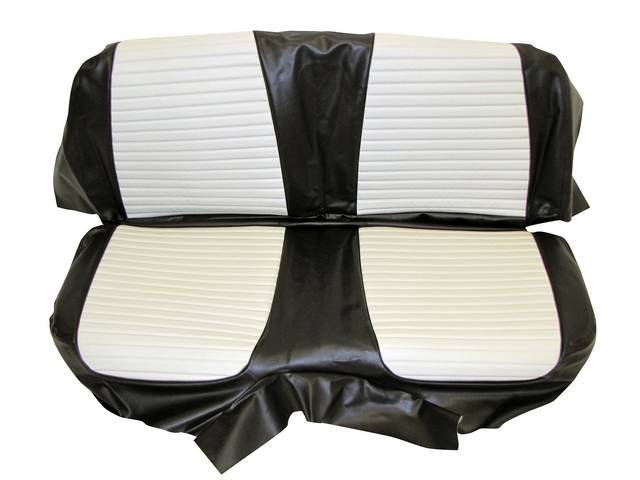 SEAT UPHOLSTERY, BLACK AND WHITE WITH BACK REST EMBOSSMENT