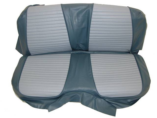 SEAT UPHOLSTERY, LIGHT BLUE AND DARK BLUE WITH BACK REST EMBOSSMENT