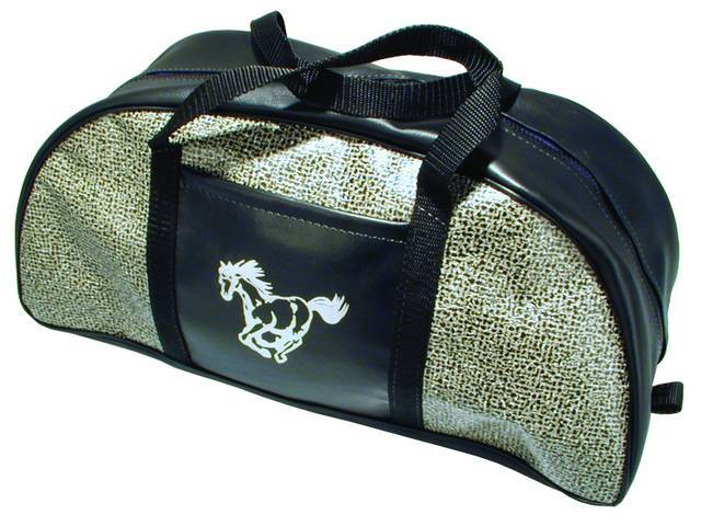 TOTE BAG, SPECKLED VINYL, RUNNING HORSE IMPRINT, APPROXIMATELY