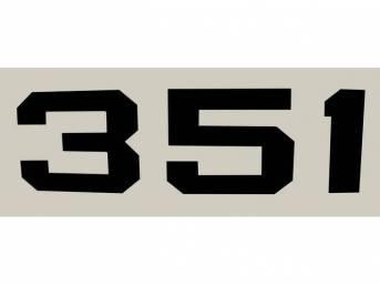 DECAL, *351* HOOD EMBLEM, BLACK, RH OR LH