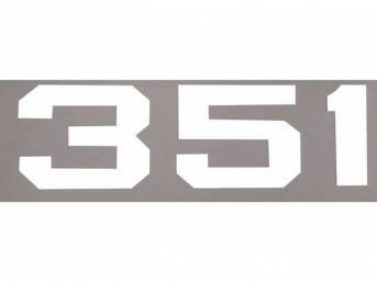 DECAL, *351* HOOD EMBLEM, WHITE, RH OR LH