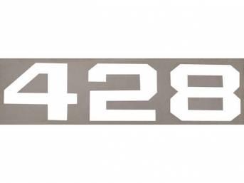 DECAL, *428* HOOD EMBLEM, WHITE, RH OR LH