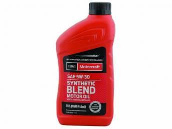 SAE 5w30 Premium Synthetic Blend Motor Oil, Motorcraft,