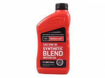 SAE 10W30 Synthetic Blend Motor Oil, Motorcraft, 1