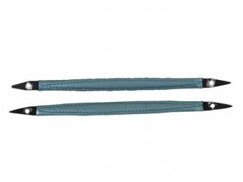 HANDLES, Door Pull, light aqua, pair, Corinthian grain