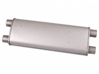 MUFFLER, Transverse, 2 inch, dual exhaust, repro, correct