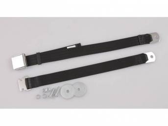 SEAT BELT, Classic Look, 2 Point, black, style
