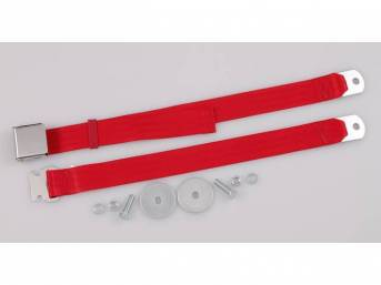 SEAT BELT, Classic Look, 2 Point, bright red,