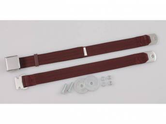 SEAT BELT, Classic Look, 2 Point, maroon, style