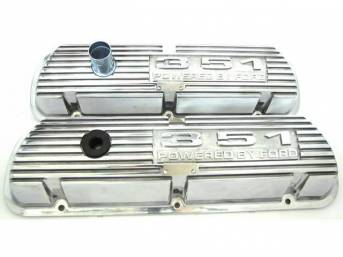 VALVE COVER SET, FINNED ALUMINUM, 351 POWERED BY FORD