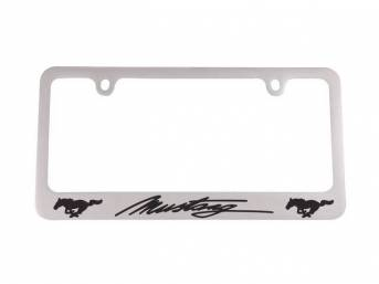 FRAME, License Plate, *Mustang*script with running horse logos,