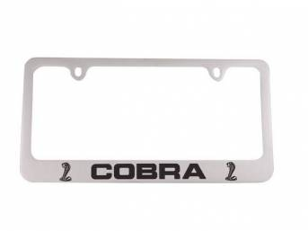 FRAME, License Plate, *COBRA* block letters with coiled