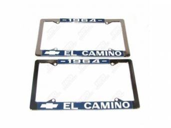 FRAME, License Plate, chrome frame w/ *1964* at the top and a Chevrolet Bowtie logo and *El Camino* at the bottom in white lettering on a blue background
