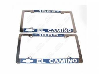 FRAME, License Plate, chrome frame w/ *1965* at the top and a Chevrolet Bowtie logo and *El Camino* at the bottom in white lettering on a blue background