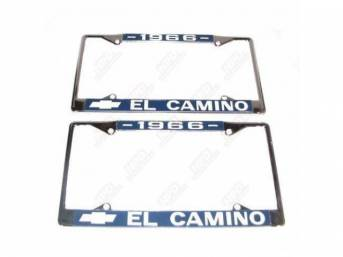 FRAME, License Plate, chrome frame w/ *1966* at the top and a Chevrolet Bowtie logo and *El Camino* at the bottom in white lettering on a blue background