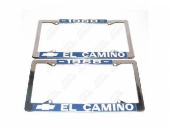 FRAME, License Plate, chrome frame w/ *1968* at the top and a Chevrolet Bowtie logo and *El Camino* at the bottom in white lettering on a blue background