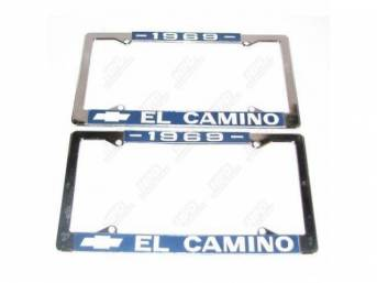 FRAME, License Plate, chrome frame w/ *1969* at the top and a Chevrolet Bowtie logo and *El Camino* at the bottom in white lettering on a blue background