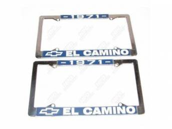 FRAME, License Plate, chrome frame w/ *1971* at the top and a Chevrolet Bowtie logo and *El Camino* at the bottom in white lettering on a blue background