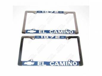 FRAME, License Plate, chrome frame w/ *1972* at the top and a Chevrolet Bowtie logo and *El Camino* at the bottom in white lettering on a blue background