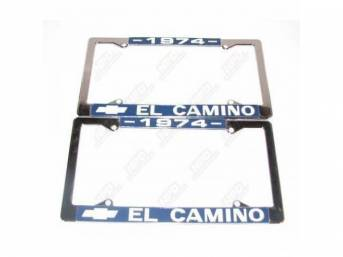 FRAME, License Plate, chrome frame w/ *1974* at the top and a Chevrolet Bowtie logo and *El Camino* at the bottom in white lettering on a blue background