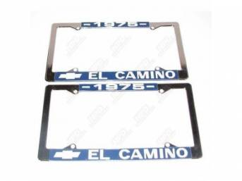 FRAME, License Plate, chrome frame w/ *1975* at the top and a Chevrolet Bowtie logo and *El Camino* at the bottom in white lettering on a blue background
