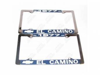 FRAME, License Plate, chrome frame w/ *1977* at the top and a Chevrolet Bowtie logo and *El Camino* at the bottom in white lettering on a blue background