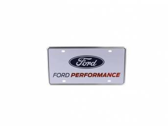 License Plate, Ford Performance, White W/ Blue Ford