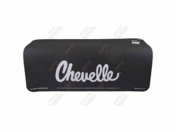 FENDER COVER, Fender Gripper, Black w/ *Chevelle* in silver lettering (1970-72 Chevelle trunk emblem style script), Hand washable 22 inch X 34 inch std size strong PVC product reinforced w/ nylon mesh, non-slip material will not slide off slick surfaces,