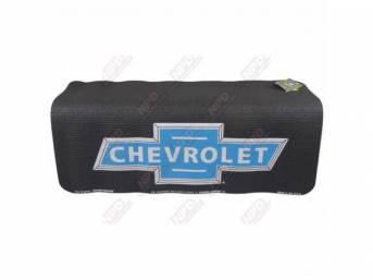 FENDER COVER, Fender Gripper, Black w/ blue *Bowtie* featuring *Chevrolet* inside it in silver lettering, Hand washable 22 inch X 34 inch std size strong PVC product reinforced w/ nylon mesh, non-slip material will not slide off slick surfaces, will not h
