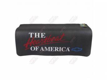 "FENDER COVER, Fender Gripper, Black w/ ""The Heartbeat Of America"" in white lettering and a blue *Bowtie*, Hand washable 22 inch X 34 inch std size strong PVC product reinforced w/ nylon mesh, non-slip material will not slide off slick surfaces, will not h"