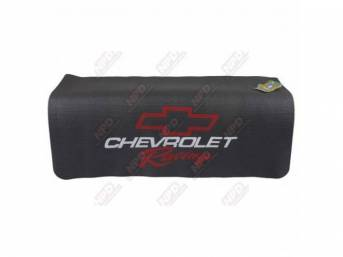 FENDER COVER, Fender Gripper, Black w/ a red *Bowtie*, *Chevrolet* in white block lettering and *Racing* in red script, Hand washable 22 inch X 34 inch std size strong PVC product reinforced w/ nylon mesh, non-slip material will not slide off slick surfac