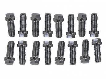 BOLT KIT, HEADER, chrome hex head bolts