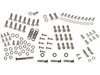 CHROME HARDWARE KIT, Engine, SBC w/ headers and