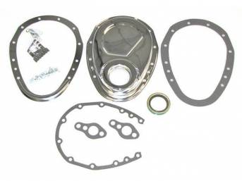 COVER, Crankcase Front End / Timing Chain, chrome finish, incl Cover, Timing Tab, Gasket and Bolts, Repro