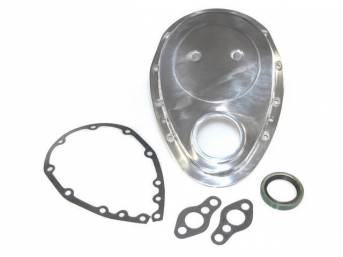 COVER, Crankcase Front End / Timing Chain, POLISHED ALUMINUM, Incl Cover, SEAL, Gaskets and Bolts, Repro