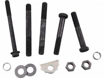 FASTENER KIT, Crankcase Front End Cover / Timing Chain Cover, (12) incl HX bolts, studs, dowels, washers and clamp, OE style repro