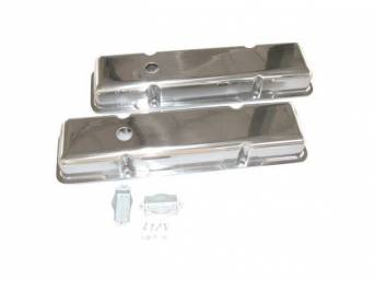 COVER SET, Valve, Short Profile (2 9/16 Inch Height) W/ Oil Baffle on each cover, Smooth Polished Aluminum, repro