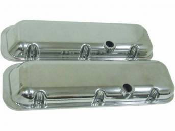 COVER SET, Valve, OE Style external Appearance W/ Baffles, W/O Oil Drippers (OE Covers incl these), Smooth Polished Aluminum, does not incl wire stands, Repro