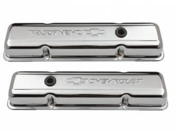 COVER SET, Valve, short profile (2 5/8 inch height) w/ oil baffles, chrome plated heavy-gauge steel w/ embossed *Chevrolet* lettering and *Bowtie* logo, GM Licensed repro