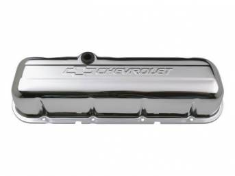 COVER SET, Valve, tall profile (3 5/8 inch height) w/ oil baffles, chrome plated heavy-gauge steel w/ embossed *Chevrolet* lettering and *Bowtie* logo, GM Licensed repro