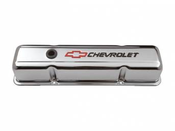 COVER SET, Valve, tall profile (3 5/8 inch height) w/ oil baffles, chrome plated heavy-gauge steel w/ black *Chevrolet* lettering and red *Bowtie* logo, GM Licensed repro