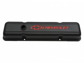 COVER SET, Valve, short profile (2 5/8 inch height) w/ oil baffles, black crinkle finished heavy-gauge steel w/ red *Chevrolet* lettering and *Bowtie* logo, GM Licensed repro