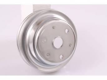PULLEY, Crankshaft, double groove, 6.9 inch o.d., chrome