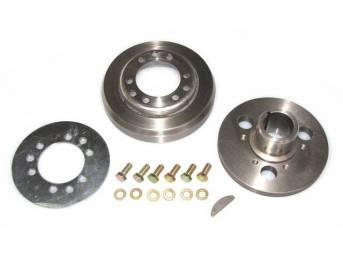 BALANCER, Harmonic, Two Piece, Incl heat treated hub, nodular damper, optional retainer, hub to damper bolts and crank key, repro