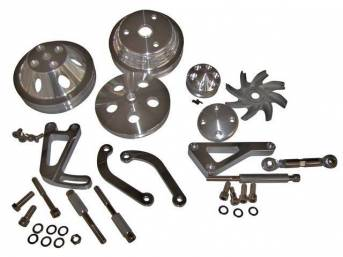 PULLEY AND BRACKET SET, Complete, machined aluminum finish,