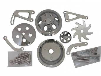 PULLEY AND BRACKET SET, Complete, chromed aluminum finish,