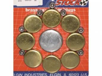 FREEZE PLUG SET, Brass, (16) Incl Freeze Plugs, Hex Head Oil Plugs and Cam Plug