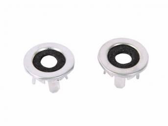 FERRULE, Door Lock Knob, chrome w/ rubber / felt insulator, 13/16 inch o.d., Repro
